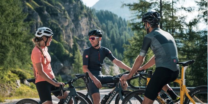 Group of cyclists in Alta Badia